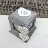 Shabby Chic PERSONALISED Rustic Wood In Memory Of DAD Photo Cube ANY NAMES - 253968200070